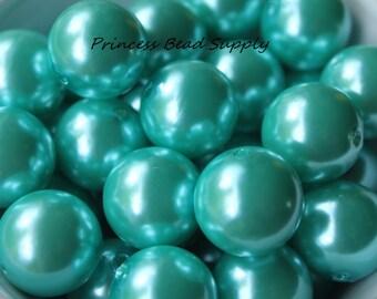 20mm Aqua Green Pearl Chunky Beads Set of 10,  Bubble Gum Beads, Gumball Beads, Acrylic Beads