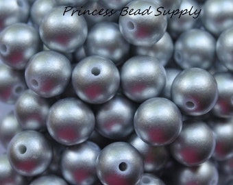 12mm Silver Pearl Beads Set of 20 or 50,  Chunky Bubble Gum Beads, Gumball Beads, Acrylic Beads