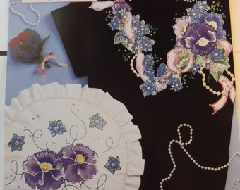 Pansies and Pearls No Sew Fabric Applique Daisy Kingdom Unused Iron On