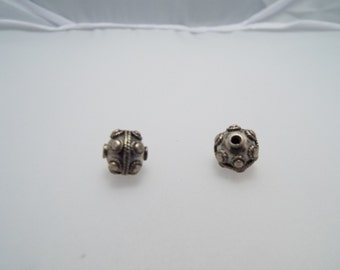 Bali Sterling Silver beads, made in Bali. Size 10mm x 10mm. Only one pair available.