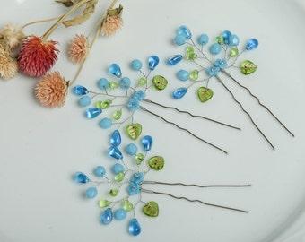 Blue crystal hair pins Blue wedding hair pins Blue floral hair pins Turquoise bridal hair pins Blue wedding headpiece Bridesmaid hair pins