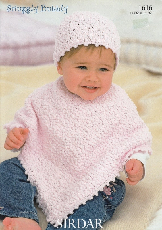 Baby Poncho Knitting Pattern Sirdar Snuggly Bubbly 1616
