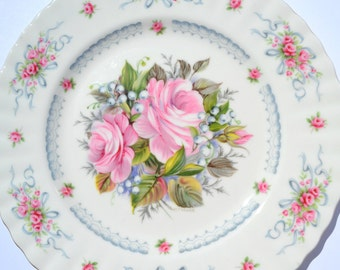 Vintage Royal Albert  Happy Birthday Plate/ Bone China / First Edition/ Roses/ Collectable porcelain souvenir/