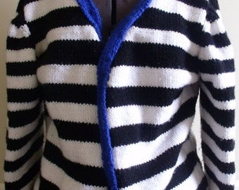 Hand made Stripe women's cardigan Sweater
