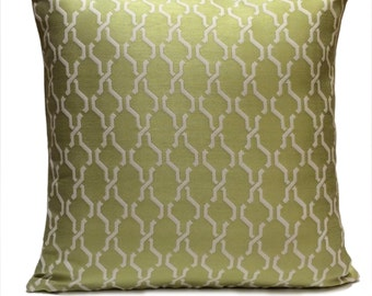 White and Lime Green Pillow, Throw Pillow Cover, Decorative Pillow Cover, Cushion Cover, Pillowcase, Cotton Blend, Indoor and Outdoor Pillow