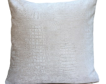 Off White Ivory, Ibis White Pillow, Throw Pillow Cover, Decorative Pillow Cover, Cushion Cover, Pillowcase, Animal Print Pillow, Velvet