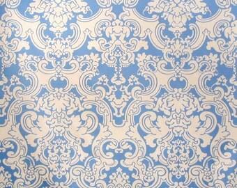 SCALAMANDRE BRENTWOOD DAMASK Cotton Fabric 10 Yards Blue Off White
