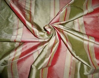 TAPESTRIA MONTEL Stripes SILK Damask Fabric 10 yards Kiwi Green Melon Pink