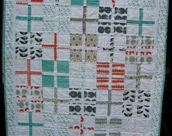Modern baby handmade quilt, aqua&grey theme, Lotta Jansdotter fabrics,
