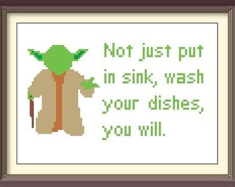 Star Wars Yoda Kitchen Advice Cross Stitch Pattern: Buy 2 Patterns Get 1 FREE!!