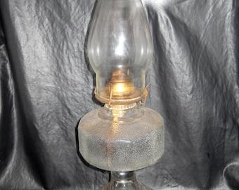 Vintage Kerosene Lamp, Glass Oil Lamp, Hurricane Lamp