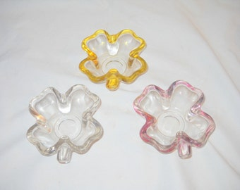 Three Shamrock Shaped Snack Dishes, Nut Dishes, Vintage Glass, Pink, Yellow and Clear