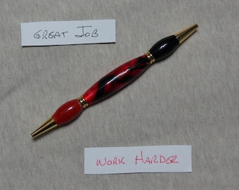 Teacher's or Accountant's Pen in Cranberry and Black Acrylic