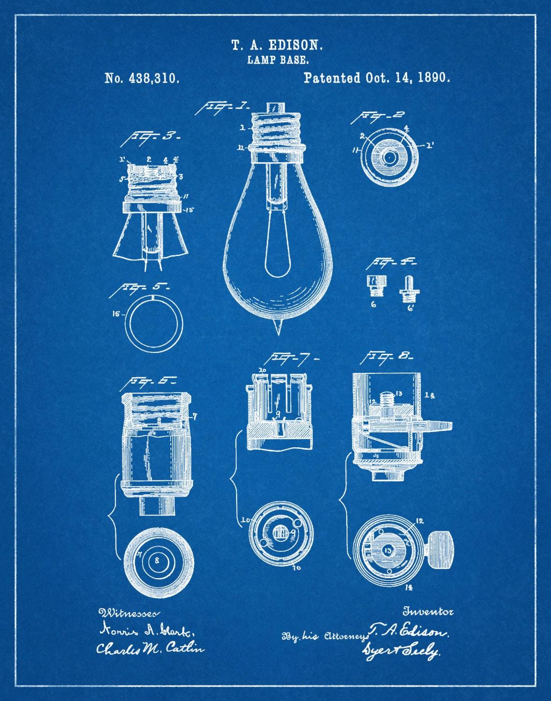 Patent 1890 Edison Light Bulb Base - Art Print - Poster ...