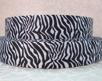 7/8 inch - Classic Black Zebra over White - STYLE 60011 Printed Grosgrain Ribbon for Hair Bow