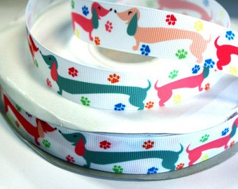 7/8 inch PUPPY - DOG - White Background - AL115 Printed Grosgrain Ribbon for Hair Bow