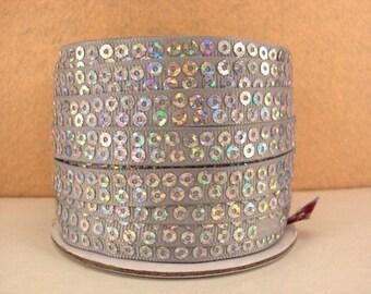 3/8 inch Gray / Silver  - SEQUIN GROSGRAIN - SEQUINS Grosgrain Ribbon for Hair Bow