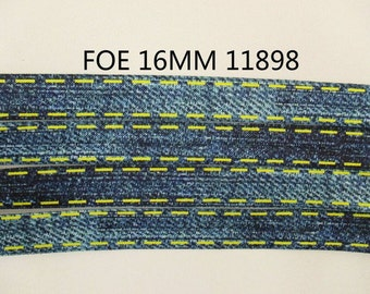 5/8 inch - BLUE DENIM / Blue Jean Like Print with Yellow Printed Stitching FOE Fold Over Elastic 11898 for Headband