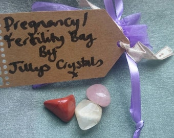 Pregnancy Crystals, IVF Crystals,  Fertility Crystals, Pregnancy Tumblestone Bag,  Pregnancy Crystal Kit, Pregnancy Crystal Bag