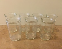Vintage Jelly Jar Juice Glasses, Small Drinking Glasses, Set of 7