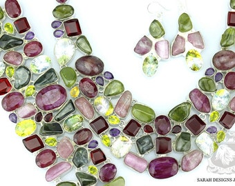 Ruby KASHMIR TOURMALINE NEPHRITE Jade 925 Solid Sterling Silver Necklace Set 150