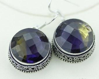 Irradiated AMETRINE Vintage Filigree Setting 925 SOLID (Nickel Free) Sterling Silver Dangle Earrings e452