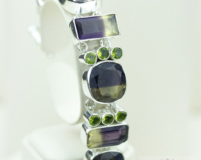 Awesome Stuff! Bi-Lemon Topaz Peridot 925 S0LID Sterling Silver Bracelet & FREE Worldwide Express Shipping B682
