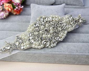 rystal bead applique,rhinestone Applique,bridal sash applique, rhinestone bridal headpiece, bridal belt (115-12)