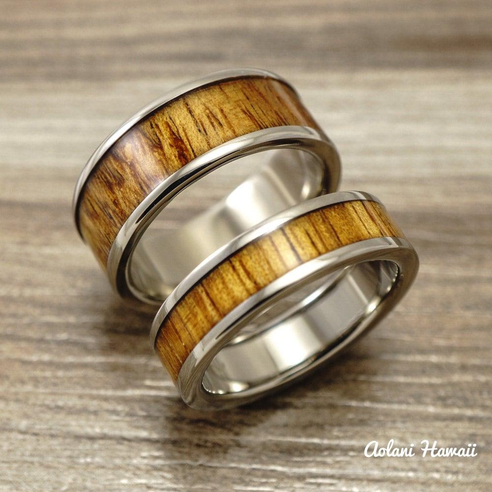 titanium wedding band set with hawaiian koa wood by