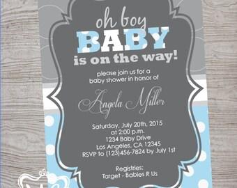Oh Boy - Baby Shower Invitation - Blue and Grey - Dot Bottom - 5x7 Digital Printable File