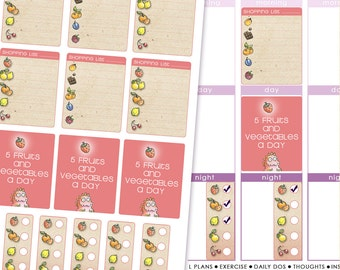 INSTANT DOWNLOAD Planner Stickers for agendas and Erin Condren Life Planners : fruity shopping lists