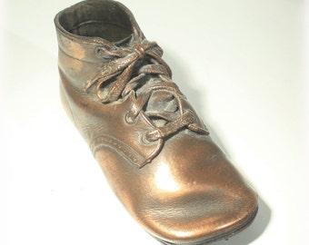 Bronze Baby Shoe, Baby Shoe, Bronze Shoe, Baby Decor, Vintage Bronzed Shoe