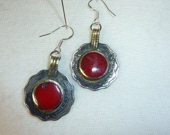 Red Tribal Earrings ,Kuchi Coins
