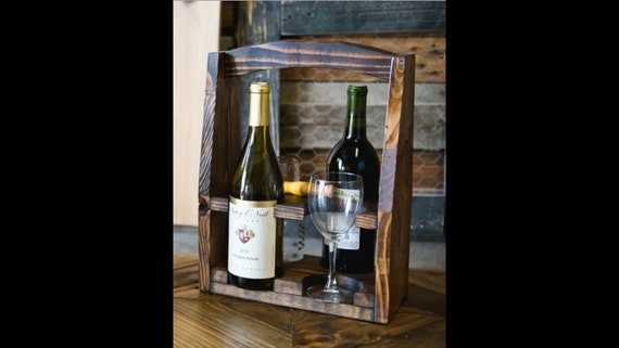 Wine Caddy, 4-Pack Caddy, Wine Carrier, Drink Caddy, Rustic Wooden Caddy, Wine Rack