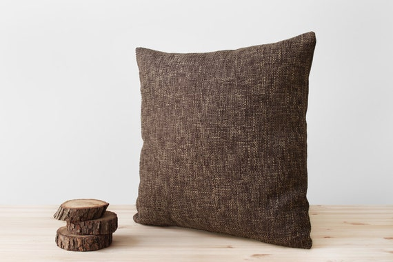 Rustic Pillow Cover Brown Woven Neutral Throw Pillows By