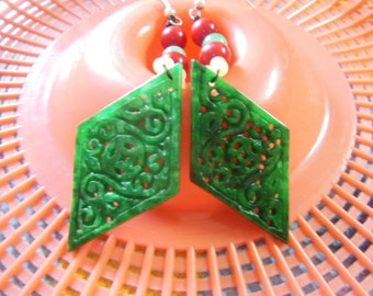 Free shipping - Dry natural emerald green prismatic sided hollow carved Ms. flower earrings earrings