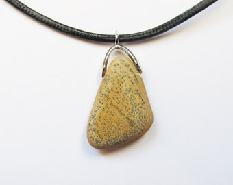 Natural Stone Necklace - dotted stone beach stone Necklace rock pendant organic necklace beach necklace jewelry unique gift idea (NSN-6)