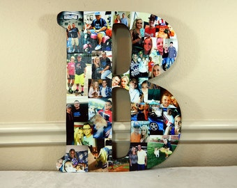 22 Inch Custom Photo Collage, Photo Collage Letter, Photo Collage on Wood, Photo Collage Gift, Personal Collage, Custom Photo Letters