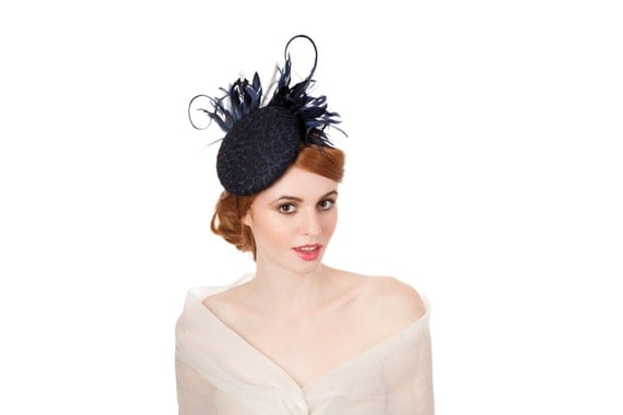 Navy Lace And Feathered Beret / Lace Hat / Navy Fascinator