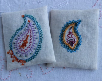 Hand embroidered lavender sachets