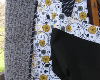 Whole Cloth Quilt:  Grey, Yellow and Black with matching carry bag.