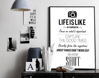 """Life is like a camera Inspirational Quote Print,  Famous Quote, Scandinavian Style Affiche Xxl Poster 70x100cm, 50x70cm, 24x36"""", A4"""