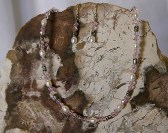 White Pearl and Swarovski Crystal Necklace and Earrings