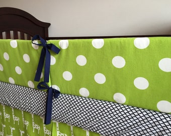 Baby Boy Bumper Pads - Chartreuse and White - SALE - Polka Dot - Crib Bedding - Nursery - Ready to Ship - Bumpers - Baby Boy