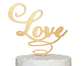Love Carolyna Font Cake Topper, Gold Calligraphy, Rustic Wood, Silver, Black, White