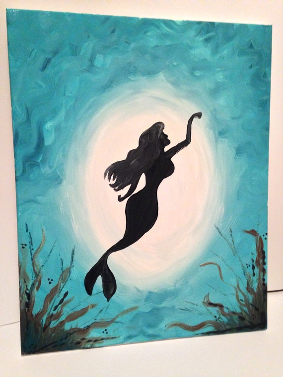 Painting of a mermaid under water acrylic by TwoPeasOnAPorch