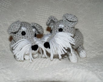 Cute Little Crocheted Schnauzer Amigurumi Dog Crochet Dog