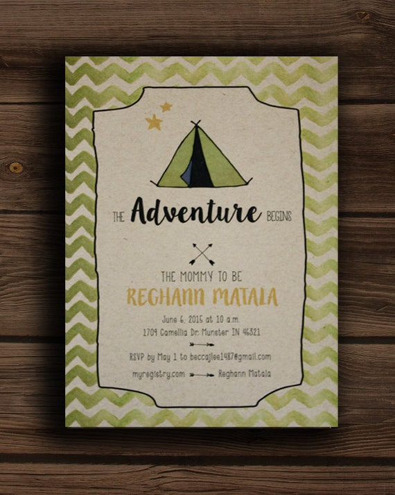 the adventure begins baby shower invitation,