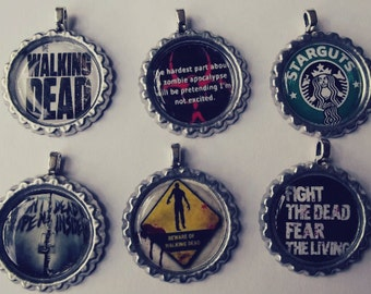 Zombie bottlecap pendants