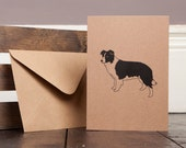 Border Collie Greetings Card Recycled Craft Dog Illustration Birthday Thank You